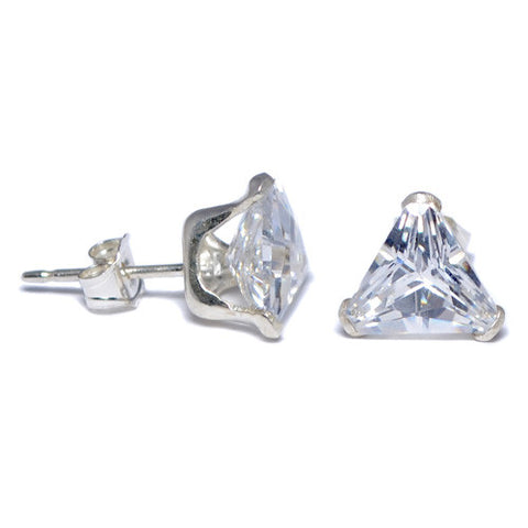 Sterling Silver Clear Triangle CZ Stud Earrings