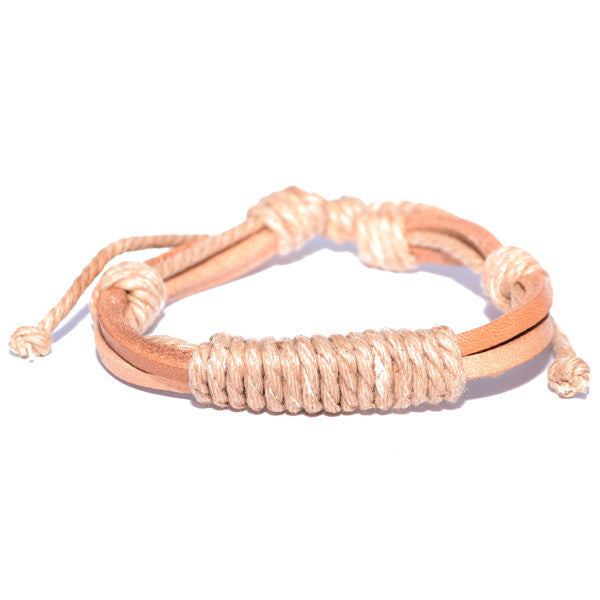 Men's Tan Leather Bracelet Wrapped in Rope Strands