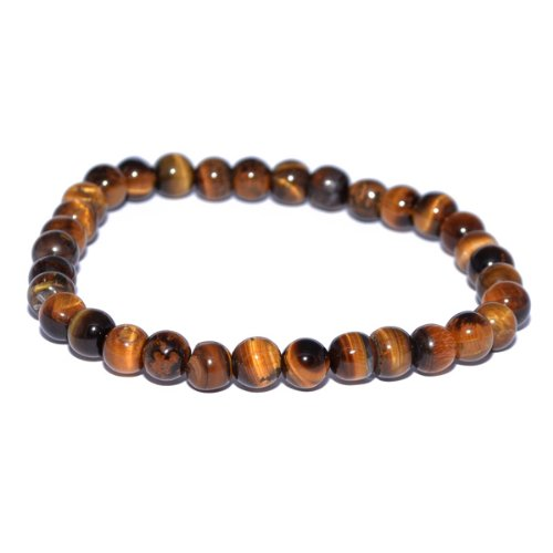 Mens Tigers Eye Beaded 8mm Elastic Bracelet