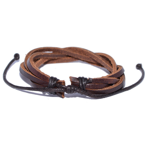 Stylish Brown Twisted Leather Bracelet