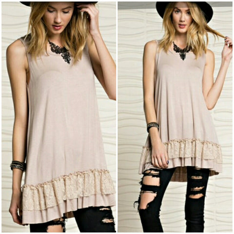 Ruffle Tunic with Layered Lace