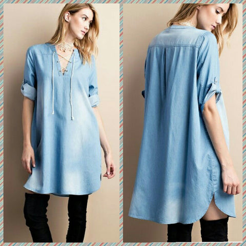 Light Denim Mineral Washed Dress