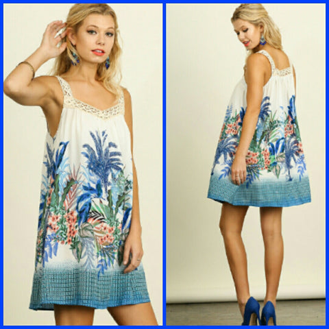 Sleeveless A-Line Floral Dress with Lace Straps