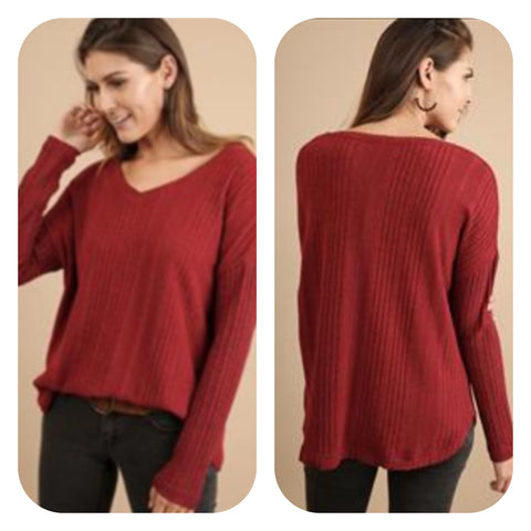 Deep Red V-Neck Sweater