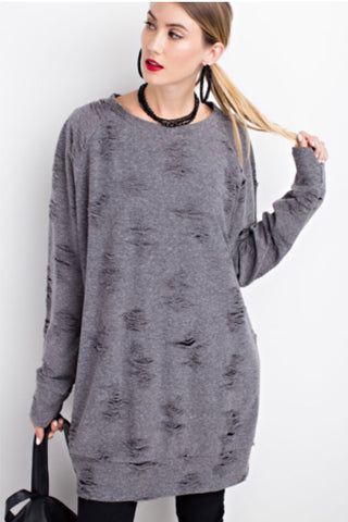Distressed Pullover Dress