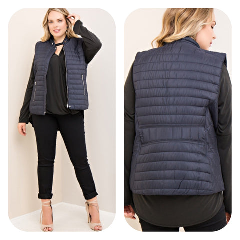Solid Navy Vest (Plus Sizes)
