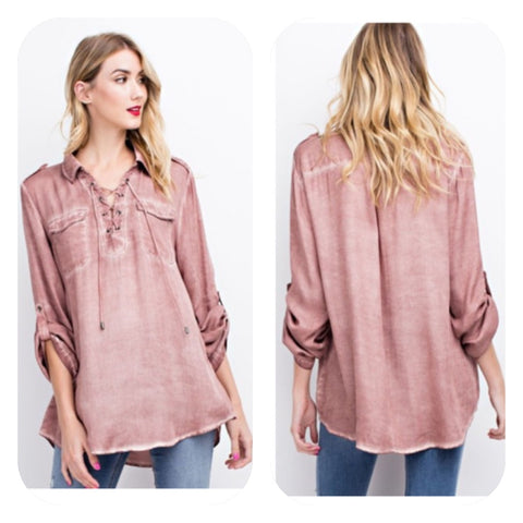 Mauve Mineral Washed Top