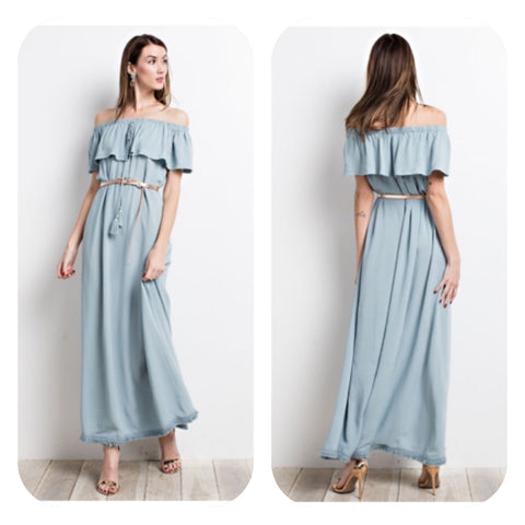 Faded Blue Off Shoulder Maxi Dress