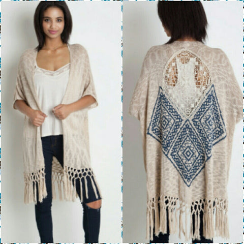 Fringe Knit Vest with Back Detail
