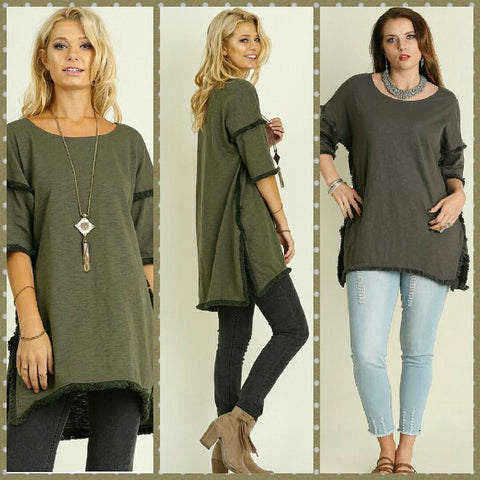 Hi/Lo Tunic with Fringed Hems