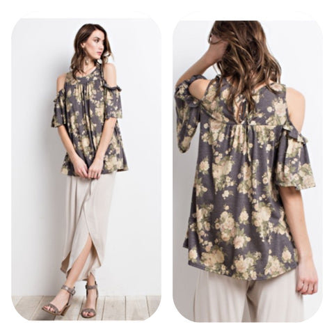 Ash Cold Shoulder Floral Tunic