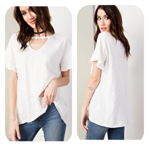 Off White V-Neck Tunic