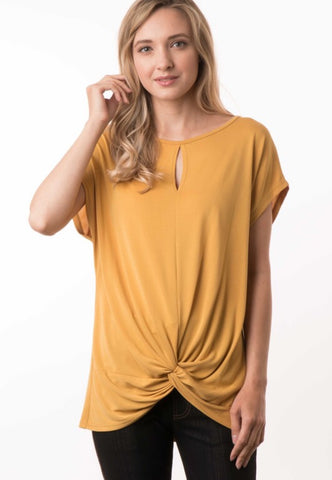 Mustard Twisted Front Top