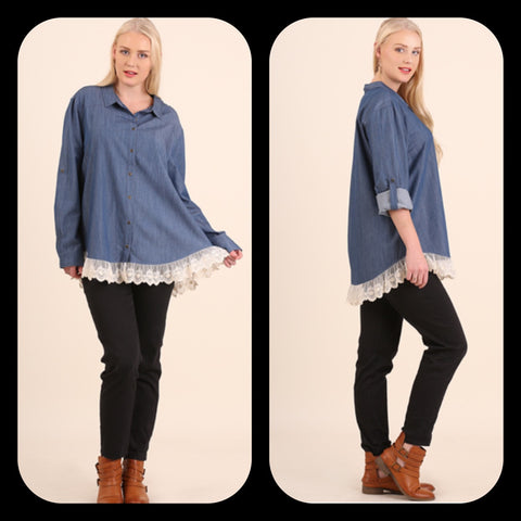 Tencel Button Up Tunic (Plus Size)