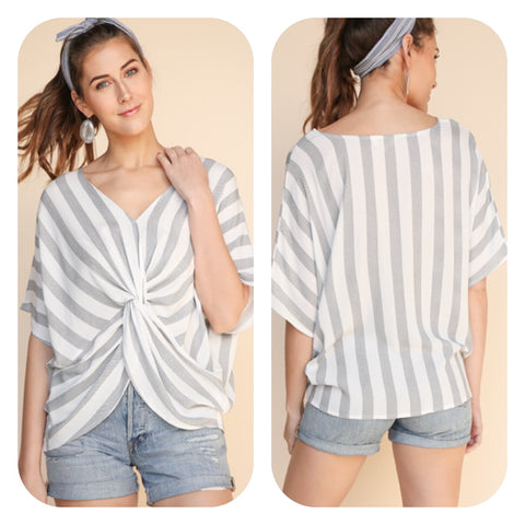 Striped Dolman V-Neck Top