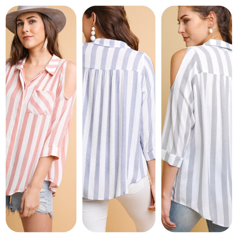 Striped 3/4 Sleeve Cold Shoulder Top