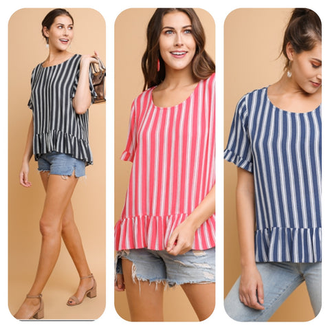 Striped Short Sleeve Scooped Neck Top