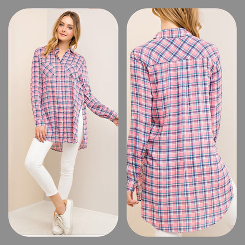 Hi/Low Pink Button Up Tunic