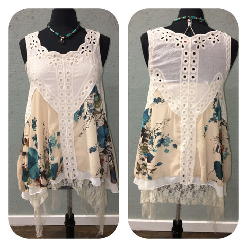 Eyelet Top with Chiffon Layer