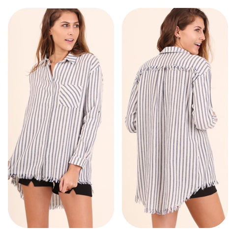 Hi/low Hem 3/4 sleeve button up tunic