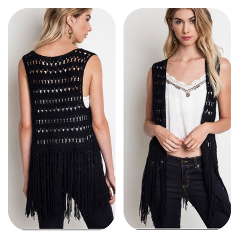 Black Sleeveless Fringe Knit Vest
