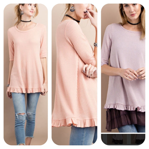 Elbow Sleeve Knit Ruffle Bottom Tunic