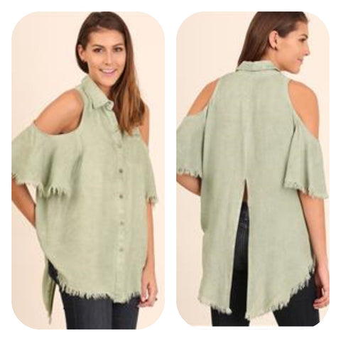 Trendy Washed Cold Shoulder Tunic