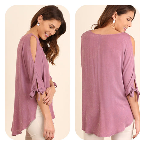 Mineral Washed Open Shoulder Top