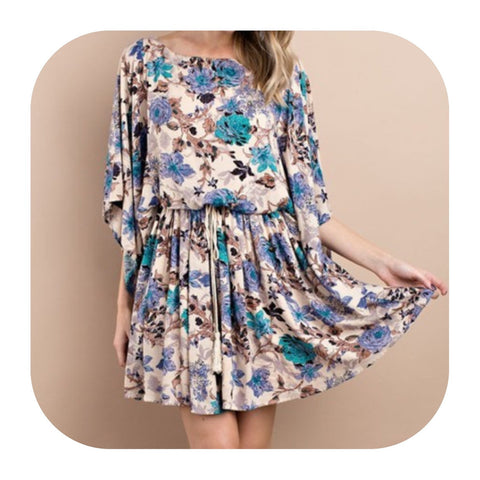 Floral Dress with Pleated Shirt