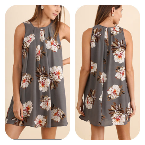 Cool Grey Floral Print Dress