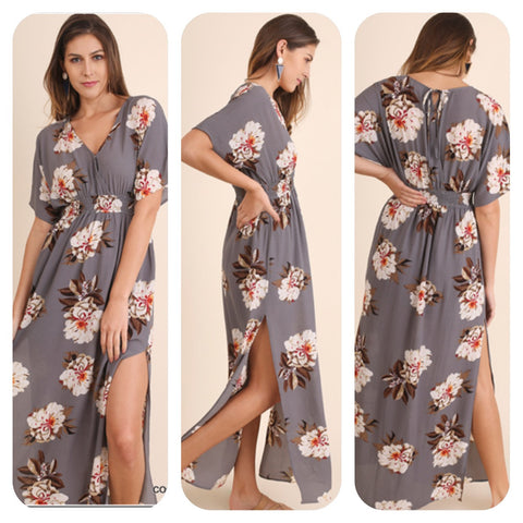 Cool Grey Floral Maxi Dress