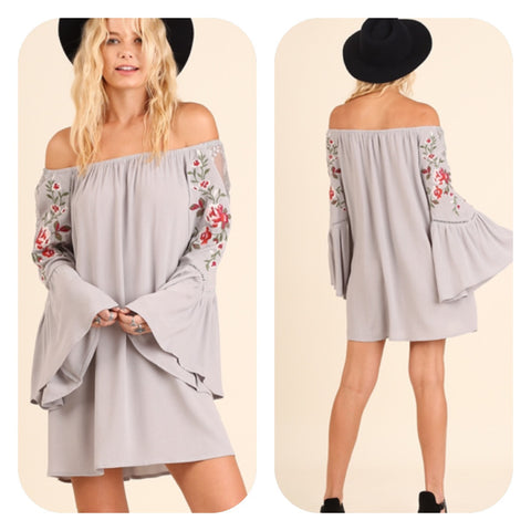 Cool Grey Off Shoulder Dress