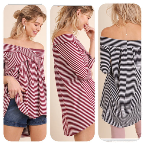Stripe Off The Shoulder Tunic