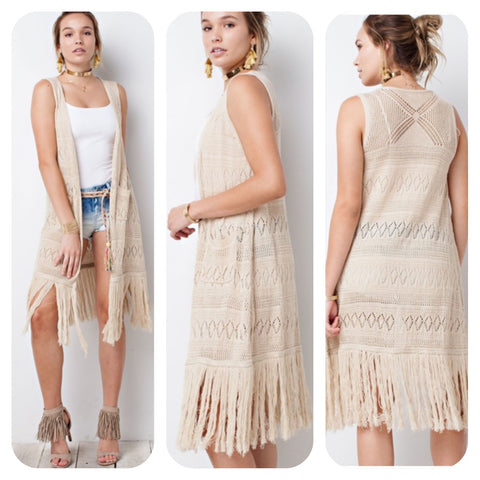 Natural Sleeveless Long Cardigan