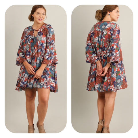 Floral Print Bell Sleeve Dress (Plus)