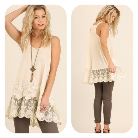 Sleeveless Racerback Floral Lace Tunic
