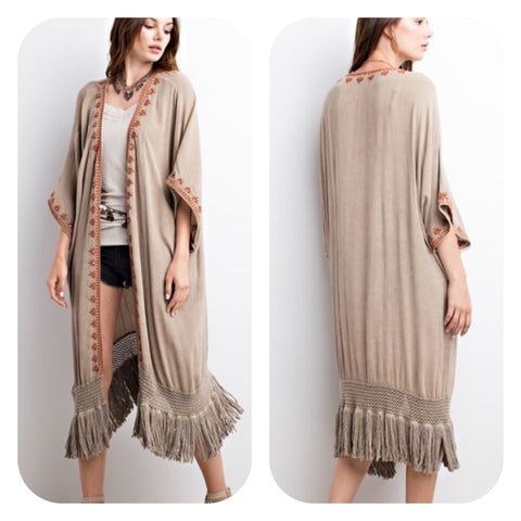 Latte Open Cardigan with Fringe