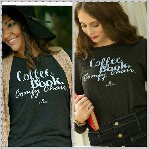 Coffee, Book, Comfy Chair long sleeve Tee