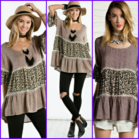 Half Bell Sleeve Tunic with Crochet Detail