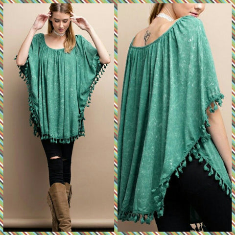 Teal Mineral Washed Woven Poncho
