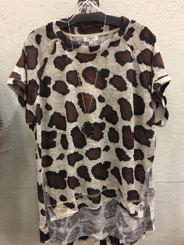 Latte Mix Animal Print Top