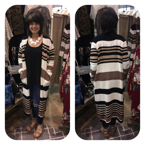 Camel/Black Striped Long Open Sweater