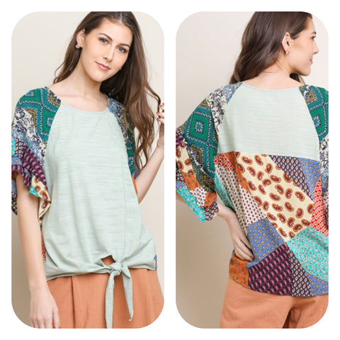 Sage Mix Print Knit Top