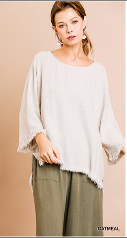 Oatmeal  3/4 Sleeve Tunic