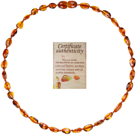 Mommy's Touch® 100% Natural Amber Teething Necklace (Cognac-Bean Style)