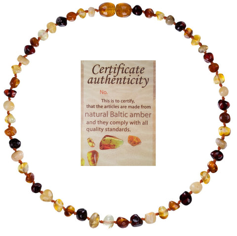 Mommy's Touch® 100% Natural Amber Teething Necklace (Multi-Color)