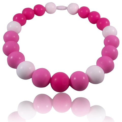 Tickled Pink Baby Teething Necklace for children to wear-Made With 100% Food Grade Silicone