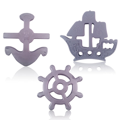 Nautical Set of 3 Baby Teether Toys. BPA Free Silicone Anchor, Helm and Pirate Ship