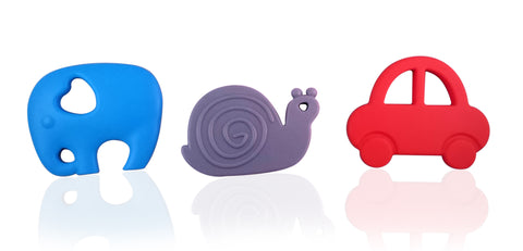 Teething Toy Set (3-pack) - Elephant, Snail and Car BPA Free Silicone Teethers
