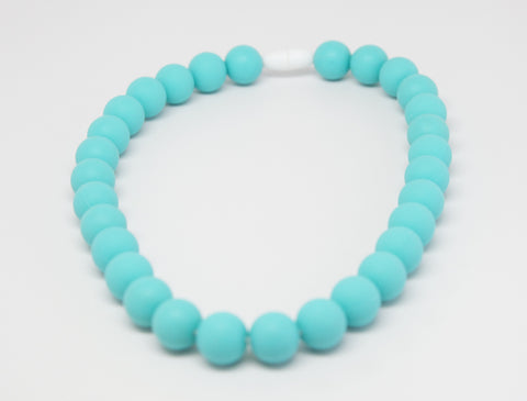 Turquoise Baby Teething Necklace for children to wear-Made With 100% Food Grade Silicone